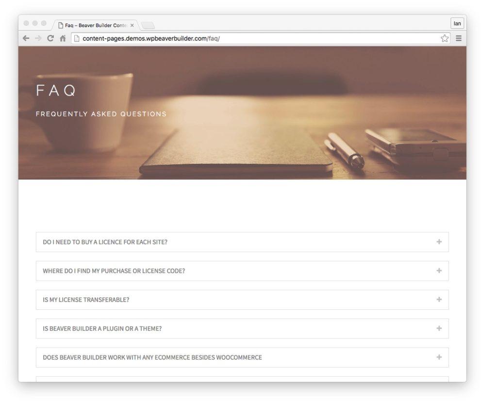 beaver builder plugin and theme updates content templates FAQ