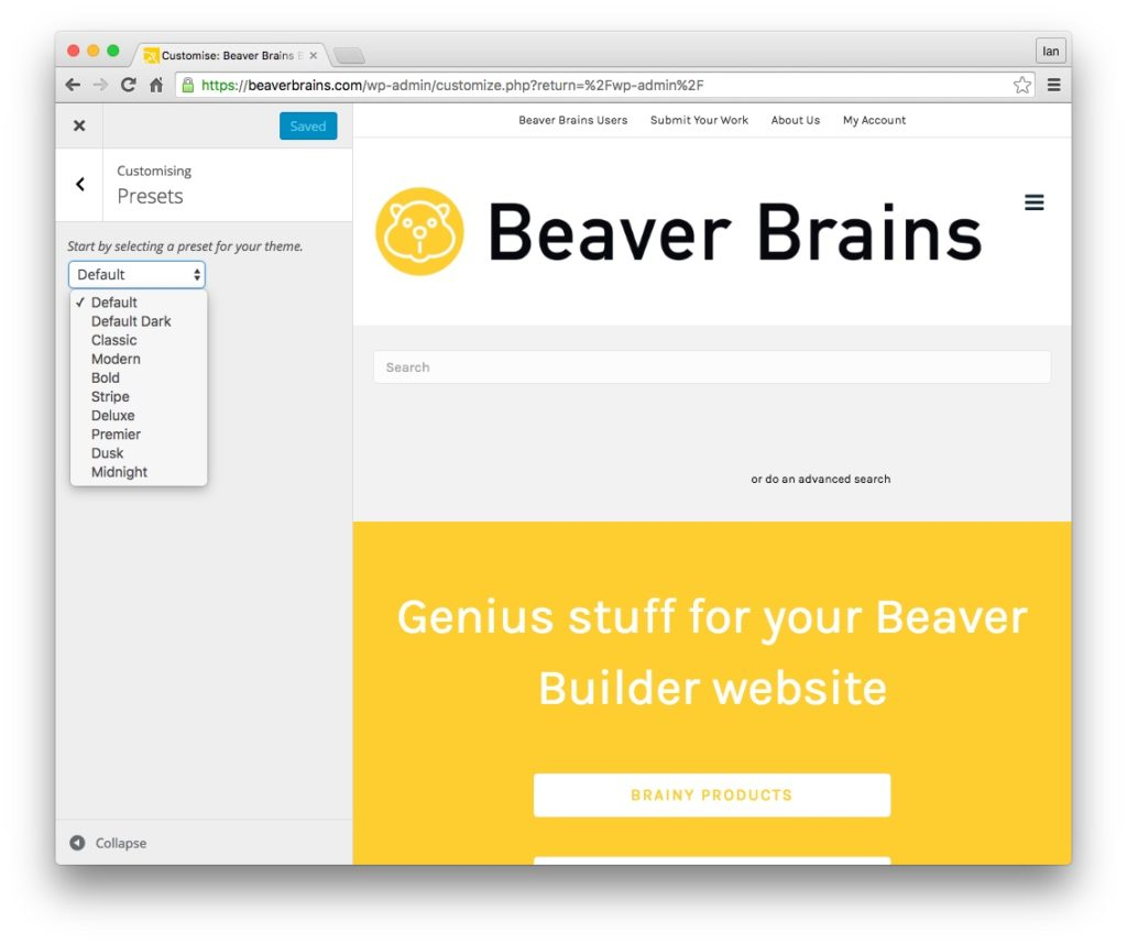 beaver builder plugin and theme updates current presets