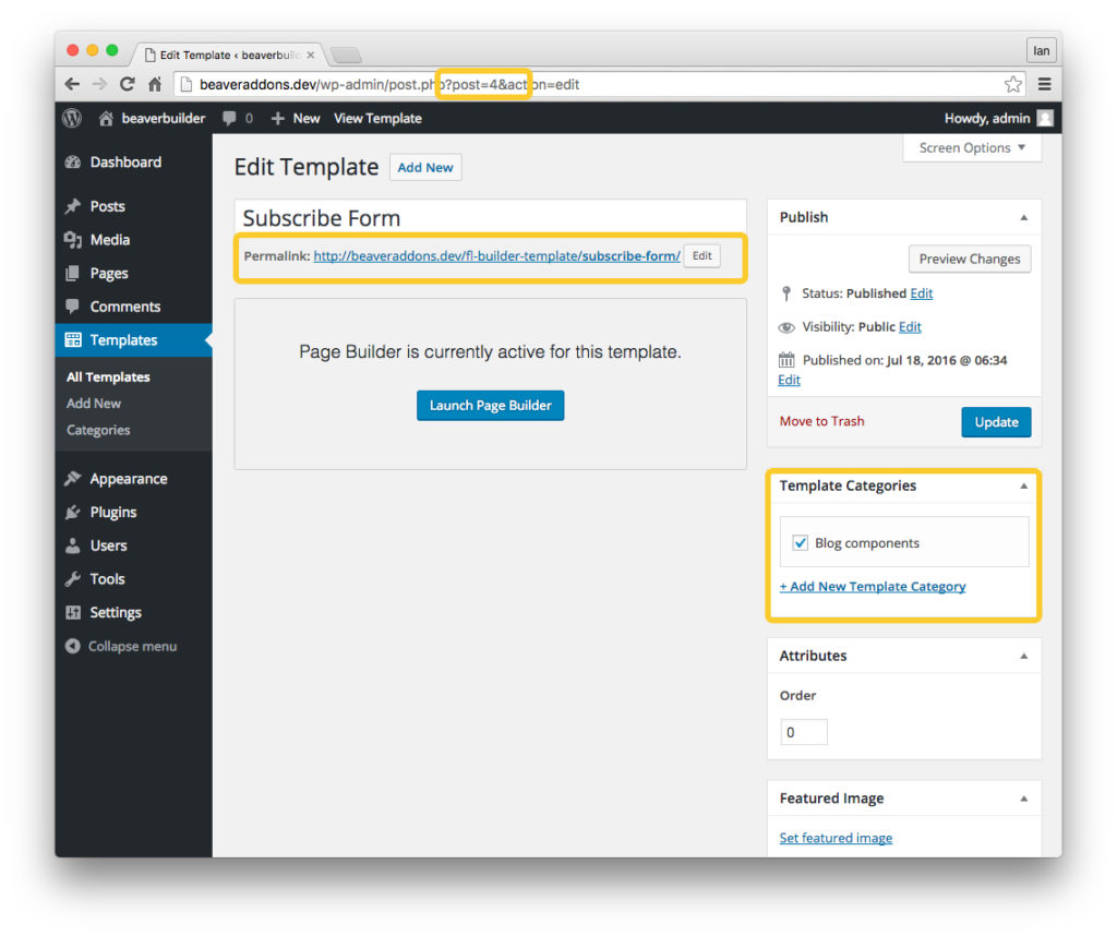 Beaver Builder uses the post slug or post ID to display the template in your post