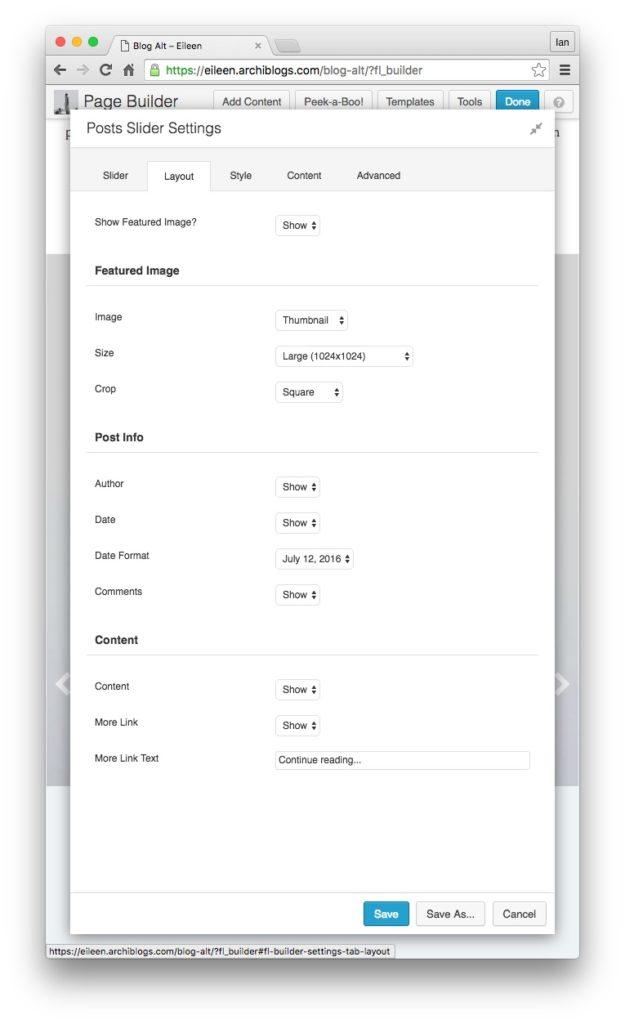 post slider 5 layout settings
