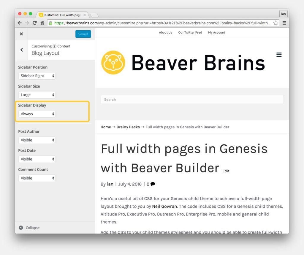 wordpress sidebar customiser settings