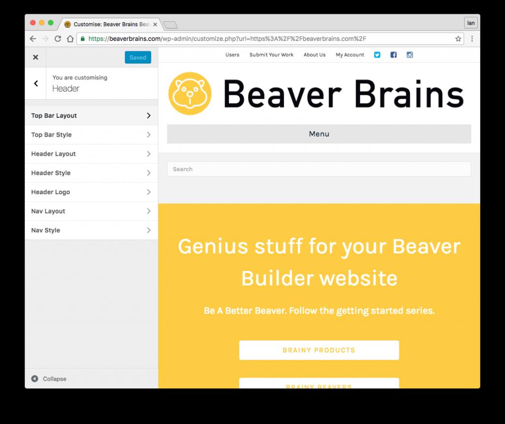 beaver builder header settings