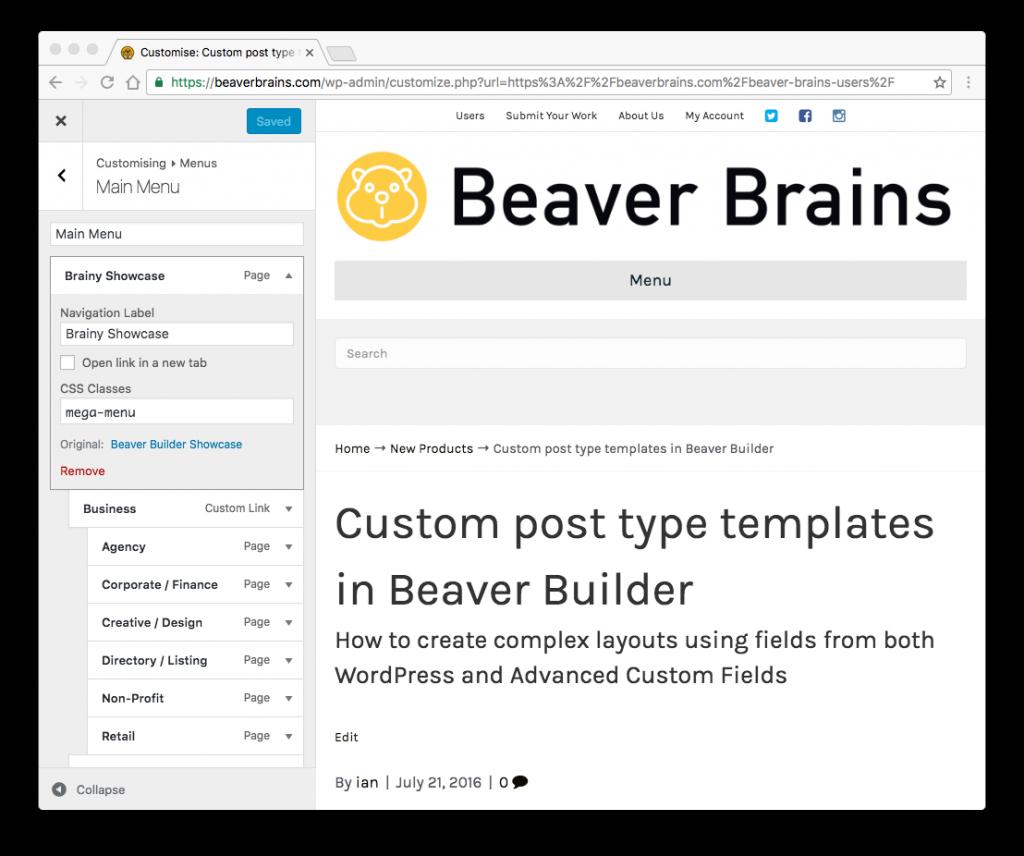 beaver builder mega menu