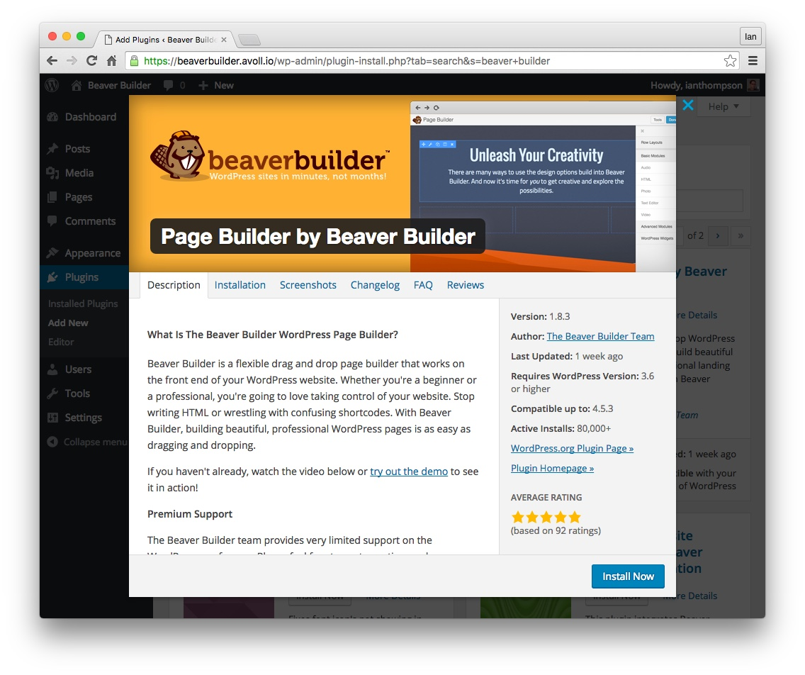 Install the free 'Lite' version of Beaver Builder from the WordPress repository