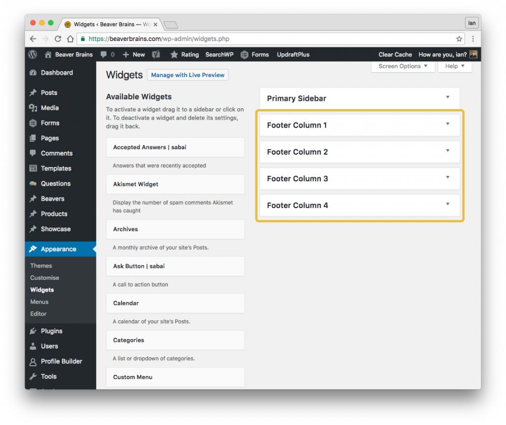 wordpress footer widgets