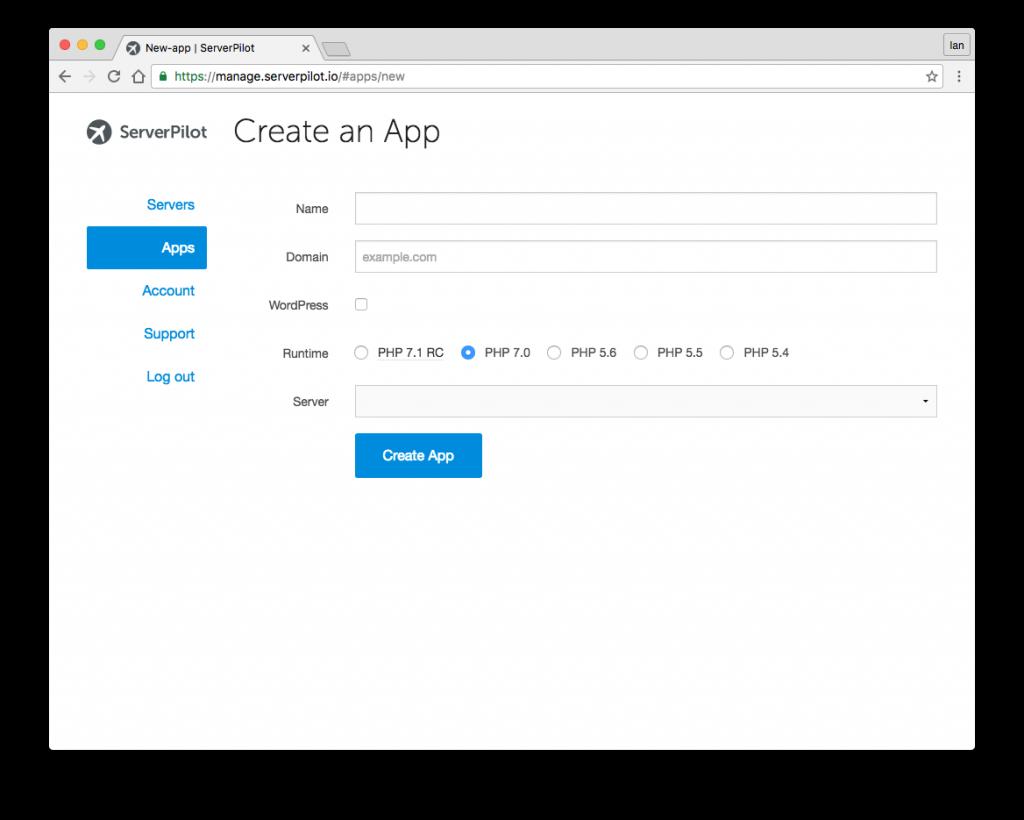 serverpilot-create-app