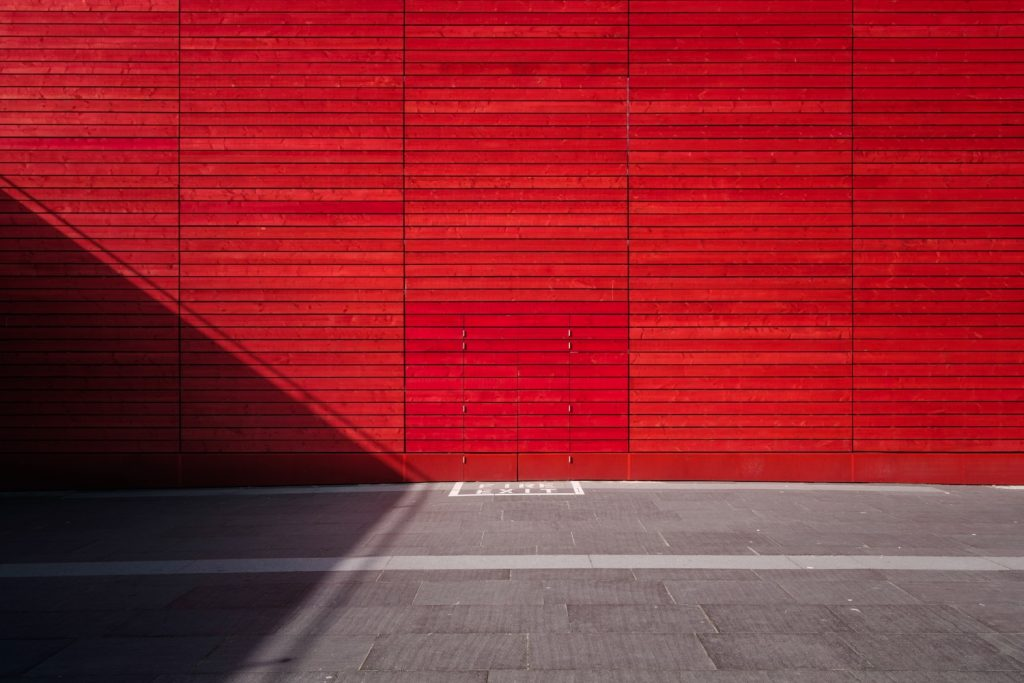 Red walls in the carpark