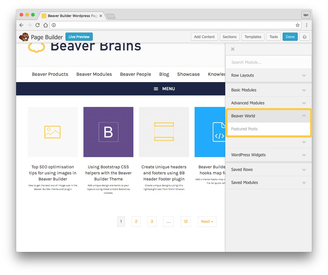 featured posts module for beaver builder settings